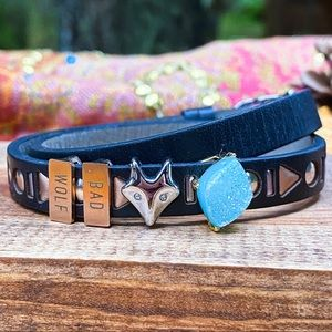 Doctor Who Bad Wolf charm leather bracelet
